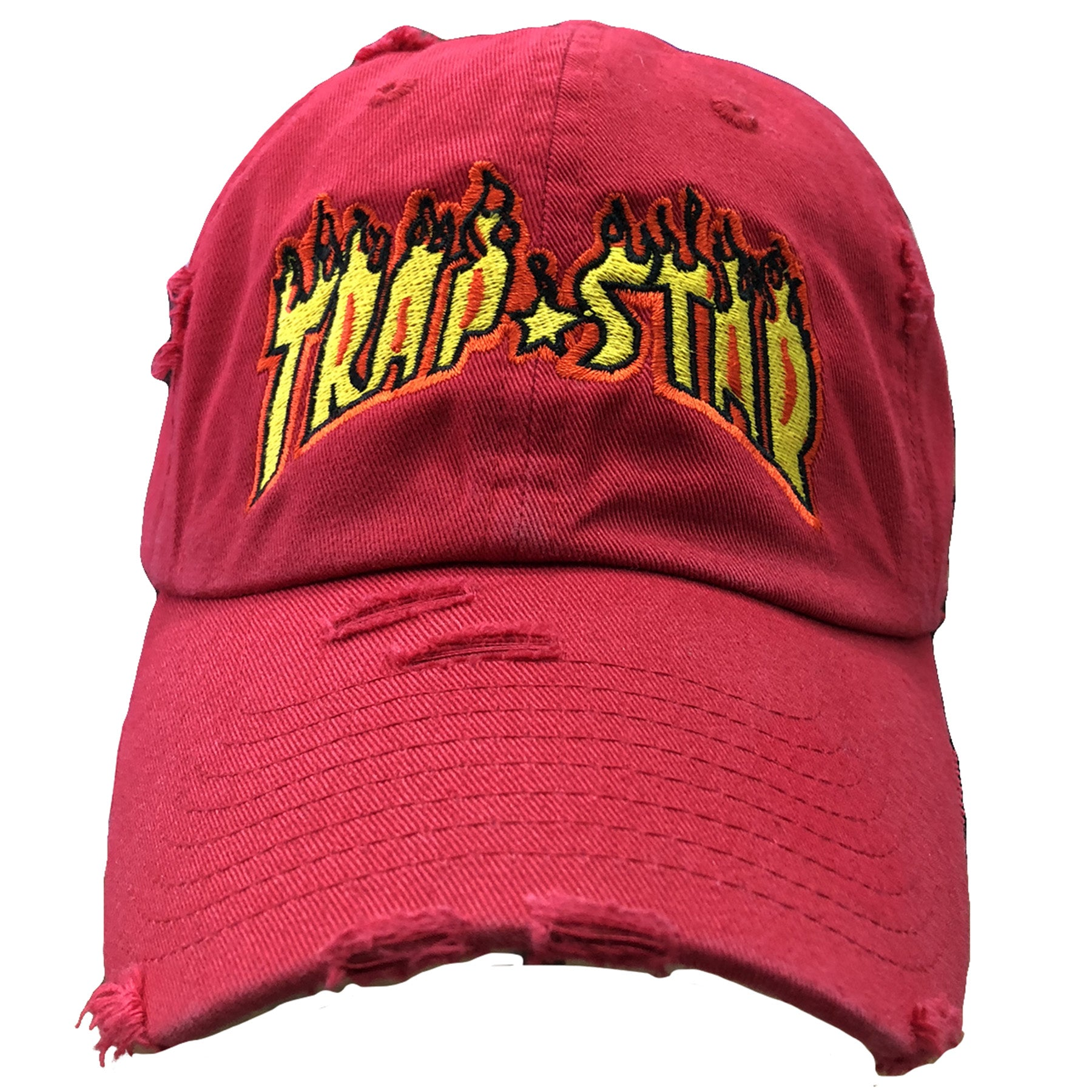 647b8d76 Foot Clan Trap Star Thrasher Inspired Red Distressed Dad Hat – Cap Swag