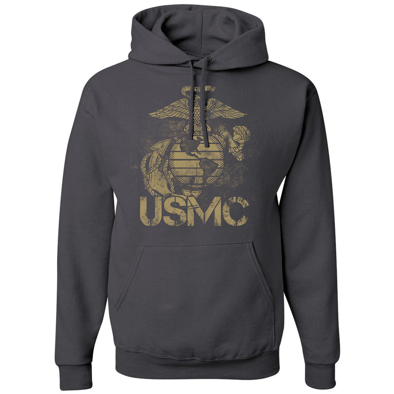 Standard Issue Distressed USMC Gray Pullover Grunt Life Hoodie