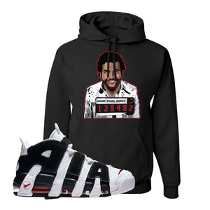 Air More Uptempo White Black Red Hoodie | Black, Escobar Illustration