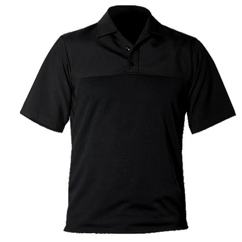 the Firemen Police Public Safety | Short Sleeve Armorskin Wool Collared Shirt | Black Wool Blend Firemen Police Uniform Base Shirt has a performance material and polo collar for work