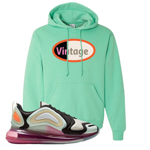 Air Max 720 WMNS Black Fossil Sneaker Cool Mint Pullover Hoodie | Hoodie to match Nike Air Max 720 WMNS Black Fossil Shoes | Vintage Oval