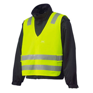 the Police Public Safety | Black Jacket with Reflective Safety Vest | Scotchlite Black and Safety Green On-Duty Uniform Jacket with Reflective Stripes has an extra optional hi vis vest that shines in the dark