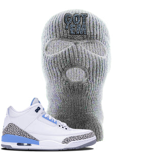 Jordan 3 UNC Sneaker Light Gray Ski Mask | Winter Mask to match Nike Air Jordan 3 UNC Shoes | Got Em