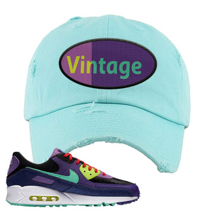 Air Max 90 Cheetah Distressed Dad Hat | Vintage Oval, Diamond Blue