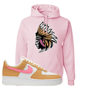 Nike Air Force 1 Pink Orange Hoodie | Indian Chief, Light Pink