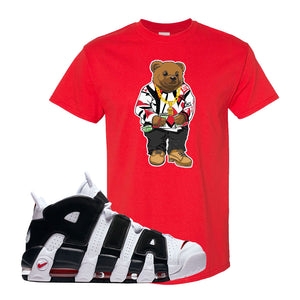 Air More Uptempo White Black Red T Shirt | Red, Sweater Bear