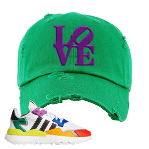 Nite Jogger 'Pride' Distressed Dad Hat | Kelly Green, Love Park