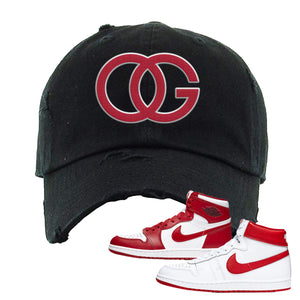 Jordan 1 New Beginnings Pack Sneaker Black Distressed Dad Hat | Hat to match Nike Air Jordan 1 New Beginnings Pack Shoes | OG