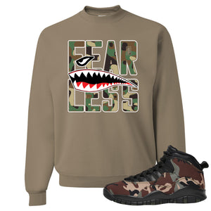 Jordan 10 Woodland Camo Sneaker Hook Up Fearless Khaki Crewneck Sweatshirt