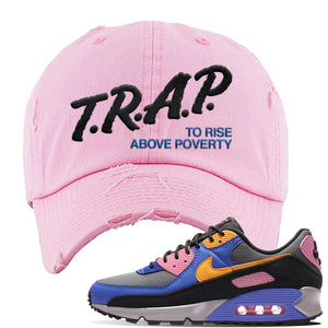Air Force 1 Low Daisy Distressed Dad Hat | Pink, Trap To Rise Above Poverty