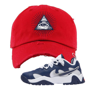 Air Barrage Low USA Distressed Dad Hat | Red, All Seeing Eye