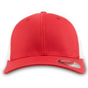 The red and white mesh-back stretch fit hat has a red structured crown and a bent brim
