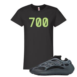 Yeezy Boost 700 V3 Alvah Sneaker Black Women's T Shirt | Women's Tees match Adidas Yeezy Boost 700 V3 Alvah Shoes | 700 Logo