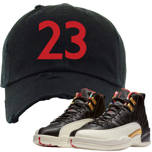 Rock the Jordan 12 Chinese New Year sneaker matching distressed dad hat to match your pair of Chinese New Year 12s