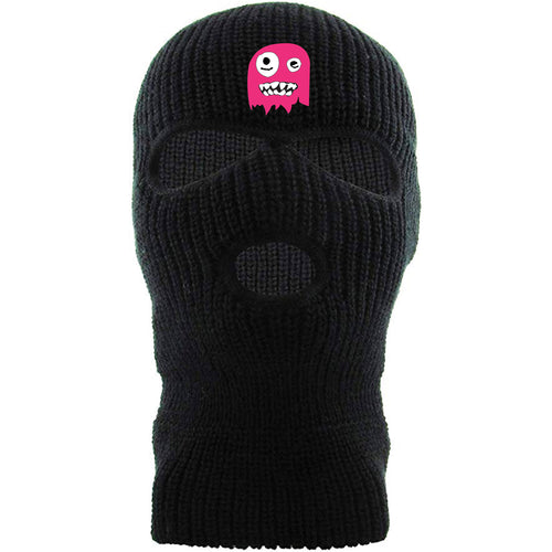 Embroidered above the eye holes of the Mark Ingram New Orleans Saints ski mask is the pink ghost logo