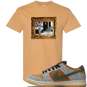 SB Dunk Low Safari Sneaker Old Gold T Shirt | Tees to match Nike SB Dunk Low Safari Shoes | Pet Cheetah