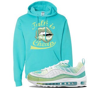 WMNS Air Max 98 Bubble Pack Sneaker Scuba Blue Pullover Hoodie | Hoodie to match Nike WMNS Air Max 98 Bubble Pack Shoes | Talk is Cheap