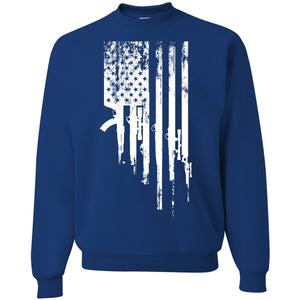 Standard Issue Gunned American Flag Royal Blue Grunt Life Crewneck Sweater