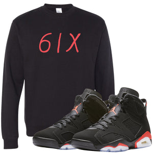 The Jordan 6 Infrared Sneaker Matching Crewneck Sweatshirt is custom designed to perfectly match the retro Jordan 6 Infrared sneakers from Nike.