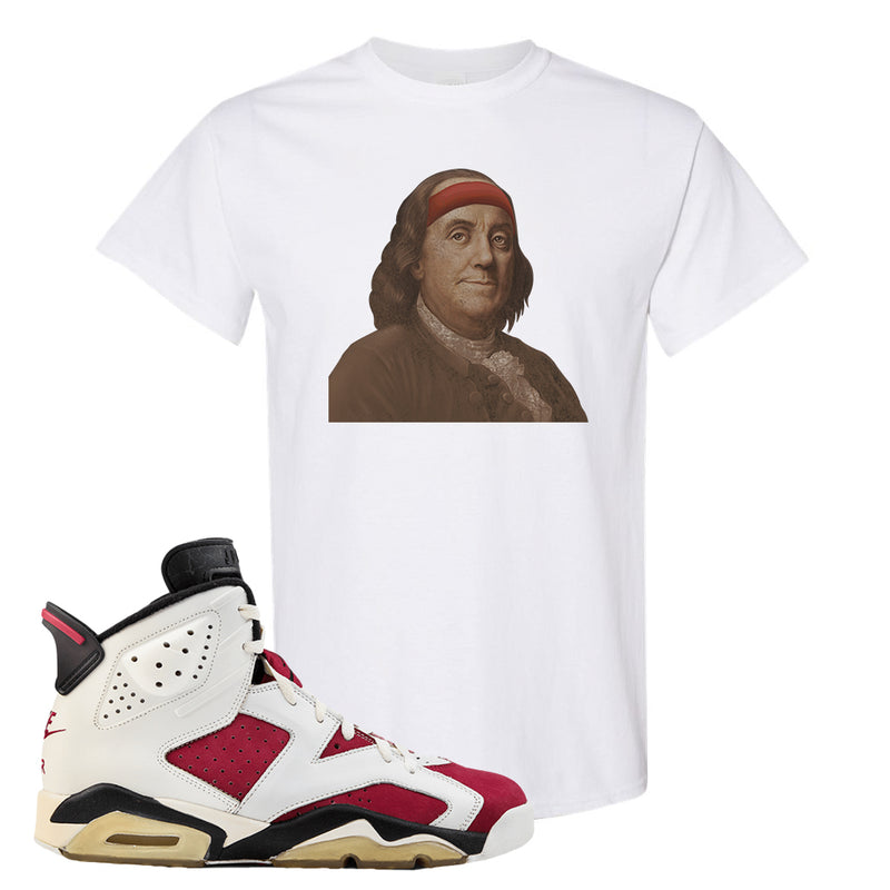 Jordan Jordan 6 Carmine Sneaker White T Shirt | Tees to match Nike Air Jordan 6 Carmine Shoes | Franklin Headband