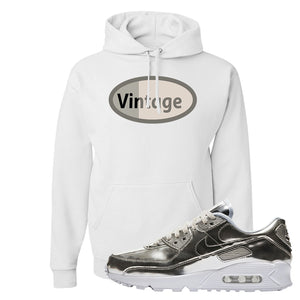 Air Max 90 WMNS 'Medal Pack' Chrome Sneaker White Pullover Hoodie | Hoodie to match Nike Air Max 90 WMNS 'Medal Pack' Chrome Shoes | Vintage Oval