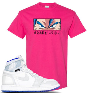 Jordan 1 High Zoom Racer Blue Sneaker Heliconia T Shirt | Tees to match Air Jordan 1 High Zoom Racer Blue Shoes | Eyes Don't Lie