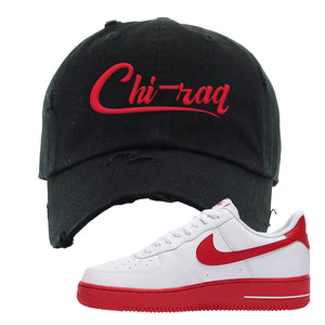 Air Force 1 Low Red Bottoms Distressed Dad Hat | Black, Chiraq