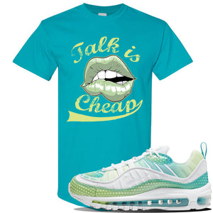 WMNS Air Max 98 Bubble Pack Sneaker Tropical Blue T Shirt | Tees to match Nike WMNS Air Max 98 Bubble Pack Shoes | Talk is Cheap