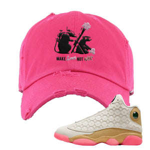 Army Rats Pink Distressed Dad Hat to match Jordan 13 Chinese New Year Sneaker