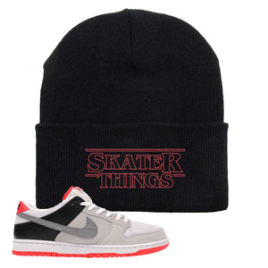 Nike SB Dunk Low Infrared Orange Label Skater Things Black Beanie To Match Sneakers