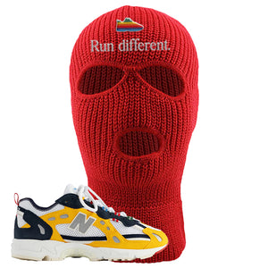 827 Abzorb Multicolor Yellow Aime Leon Dore Sneaker Red Ski Mask | Winter Mask to match 827 Abzorb Multicolor Yellow Aime Leon Dore Shoes | Run Different