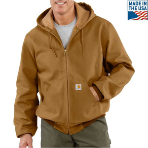 The brown carhartt jacket is incredibly warm, with a waterproof exterior