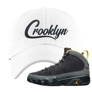 Air Jordan 9 Charcoal University Gold Dad Hat | Crooklyn, White