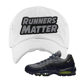 Air Max 95 Midnight Navy / Volt Distressed Dad Hat | White, Runners Matter