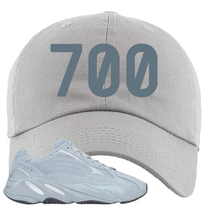 Yeezy Boost 700 V2 Hospital Blue 700 Sneaker Matching Light Gray Dad Hat