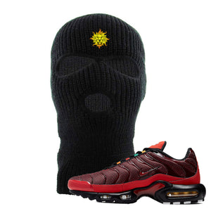 embroidered on the forehead of the air max plus sunburst sneaker matching black ski mask is vintage lion head logo