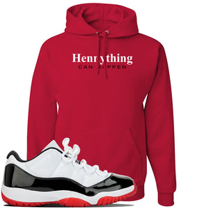 Jordan 11 Low White Black Red Sneaker Red Pullover Hoodie | Hoodie to match Nike Air Jordan 11 Low White Black Red Shoes | HennyThing Is Possible
