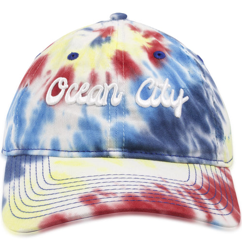 Ocean City, New Jersey Groovy Script Tie-Dye Adjustable Baseball Cap