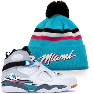 Miami Heat 2019 City Series Jordan 8 South Beach Sneaker Matching Winter Beanie