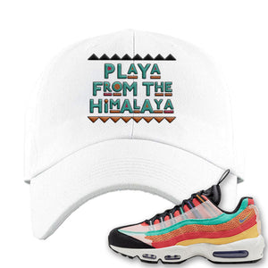 Air Max 95 Black History Month Sneaker White Dad Hat | Hat to match Air Max 95 Black History Month Shoes | Playa From The Himalaya