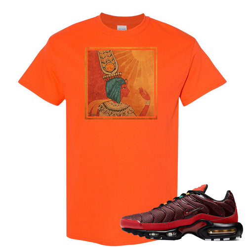 printed on the front of the air max plus sunburst sneaker matching safety orang tee shirt is the vintage egyptian logo