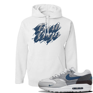 Air Max 1 'London City Pack' Sneaker White Pullover Hoodie | Hoodie to match Nike Air Max 1 'London City Pack' Shoes | Fresh Creps Only