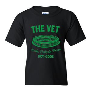 The Vet Pride, Pretzels, Prison Kid's T-Shirt | Veterans Stadium Black Children's Tee Shirt the front of this kids t-shirt has the vet stadium