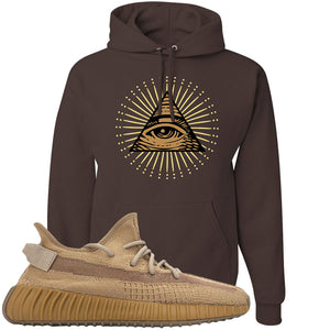 Yeezy Boost 350 V2 Earth Sneaker Hoodie To Match | All Seeing Eye, Chocolate