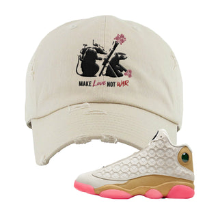 Army Rats Ivory Distressed Dad Hat to match Jordan 13 Chinese New Year Sneaker