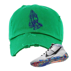 KD 13 Home Distressed Dad Hat | Kelly Green, Praying Hands