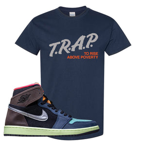 Air Jordan 1 Retro High OG 'Bio Hack' T Shirt | Navy, Trap To Rise Above Poverty