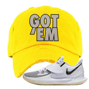 Kyrie Low 3 Distressed Dad Hat | Yellow, Got Em