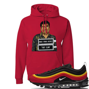 Air Max 97 Black//Chile Red/Magma Orange/White Sneaker Red Pullover Hoodie | Hoodie to match Nike Air Max 97 Black//Chile Red/Magma Orange/White Shoes | EL Chapo Illustration
