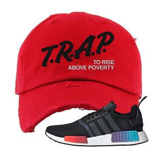 NMD R1 Gradient Distressed Dad Hat | Red, Trap To Rise Above Poverty